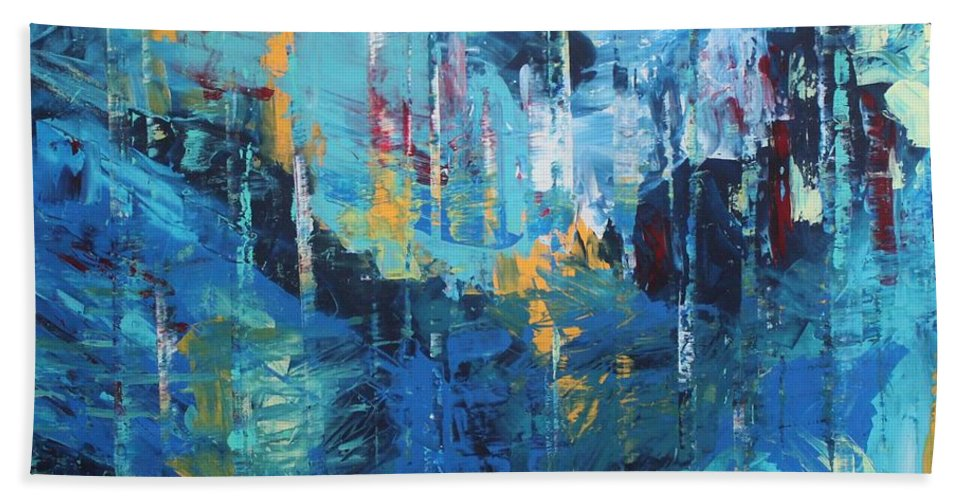Letting Go By Kelly Gowan Kellygowan Blue Abstract Painting Modern Contemporary Water Waterfall Royal Blue Navy Sky Blue Turquoise Yellow Red White Orange Bold Movement Peaceful Beach Sheet featuring the painting Letting Go by Kelly Gowan