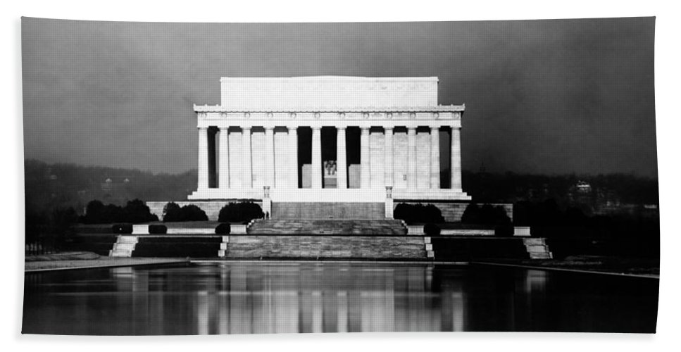 Washington Dc Beach Towel featuring the photograph Lincoln Memorial And Reflecting Pool - 1923 by War Is Hell Store