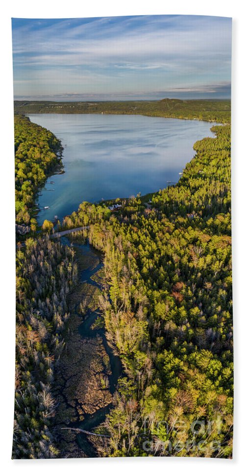 Little Traverse Lake Beach Towel featuring the photograph Litte Traverse Lake Vertical Panorama by Twenty Two North Photography