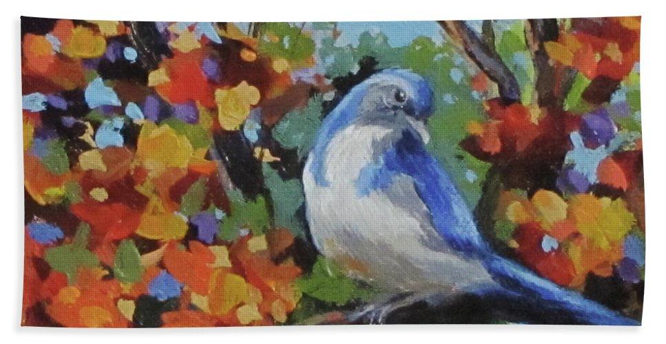Birds Beach Towel featuring the painting Little Jay by Karen Ilari