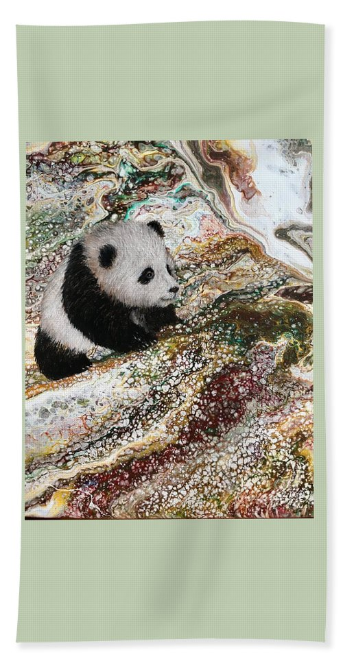 Panda Beach Towel featuring the painting Little Panda2 by Francesca Kee