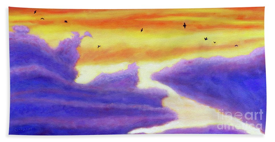 Sky Beach Towel featuring the painting Living In The Sky by Brian Commerford