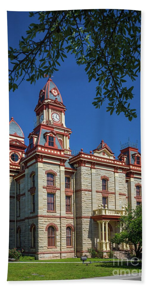 America Beach Towel featuring the photograph Lockhart Courthouse by Inge Johnsson