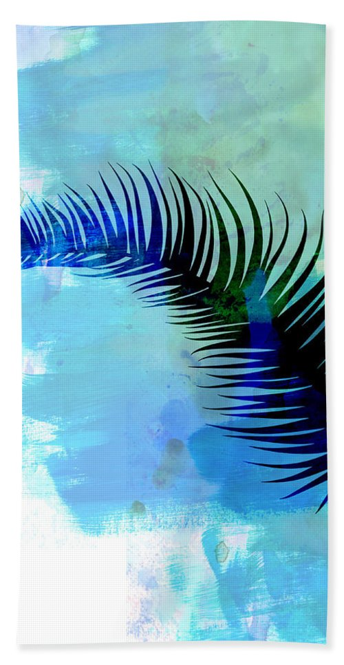 Tropical Leaf Beach Towel featuring the mixed media Lonely Leaf Watercolor I by Naxart Studio