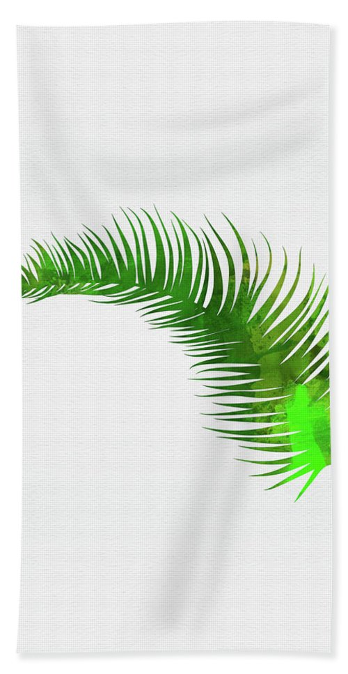 Tropical Leaf Beach Towel featuring the mixed media Lonely Tropical Leaf by Naxart Studio