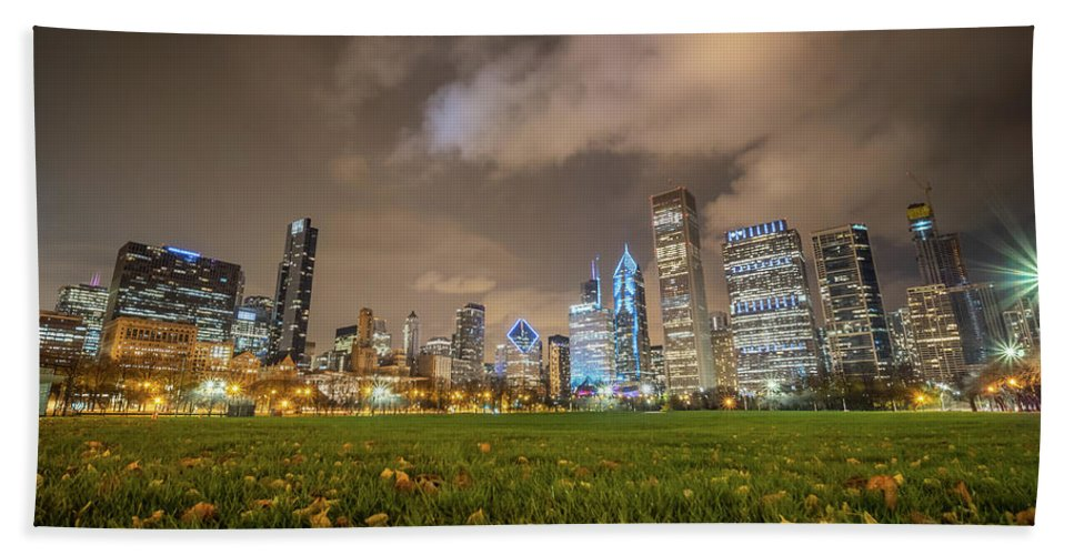 Downtown Beach Towel featuring the photograph Low Angle Picture Of Downtown Chicago Skyline During Winter Nigh by PorqueNo Studios