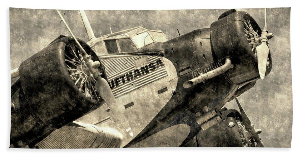 Ww2 Vintage Photo Beach Towel featuring the photograph Lufthansa Junkers Ju 52 Vintage by David Pyatt