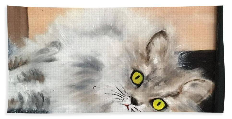 Cat Beach Towel featuring the painting Lying Cat by Ryszard Ludynia