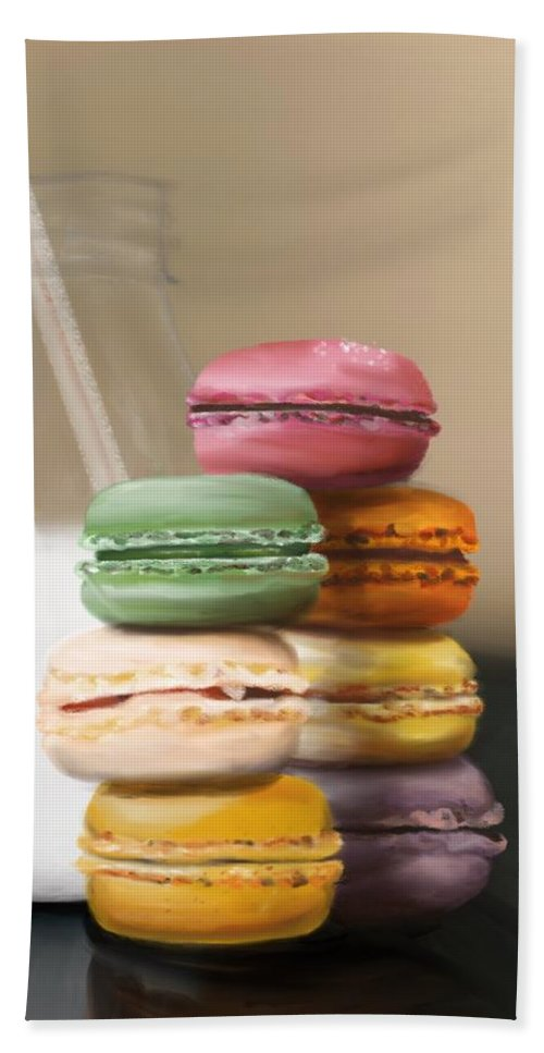 Macaroons Beach Sheet featuring the pastel Macaroons by Fe Jones