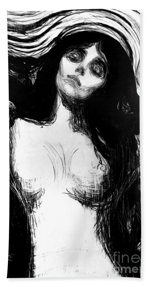 Madonna Beach Towel featuring the painting Madonna, Lithograph By Edvard Munch Dedicated To Dr Bucher by Edvard Munch