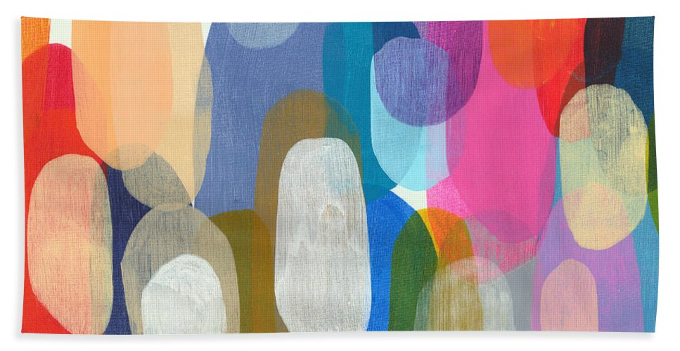 Abstract Beach Towel featuring the painting Making Origami by Claire Desjardins