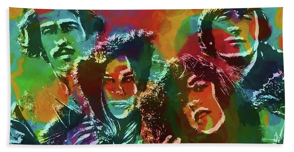 Mamas And The Papas Beach Towel featuring the painting Mamas And The Papas by Dan Sproul