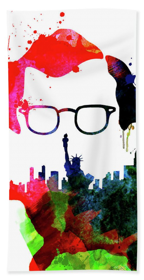 Movies Beach Towel featuring the mixed media Manhattan Watercolor by Naxart Studio