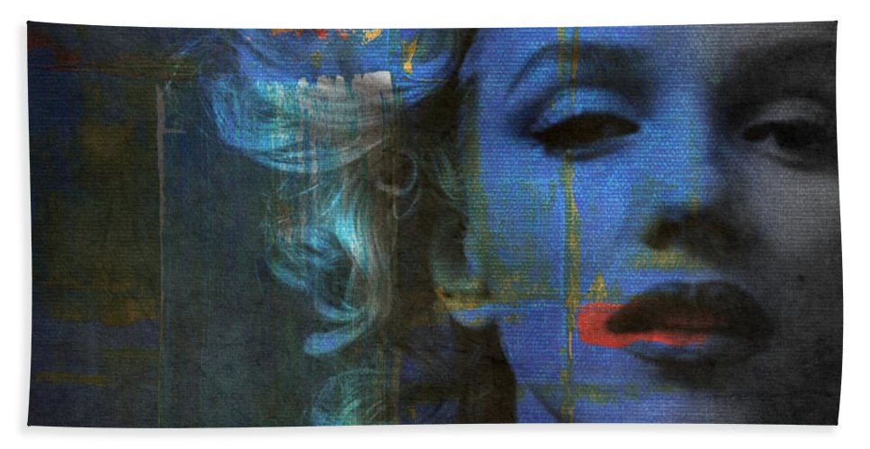 Monroe Beach Towel featuring the mixed media Marilyn Monroe - Retro by Paul Lovering