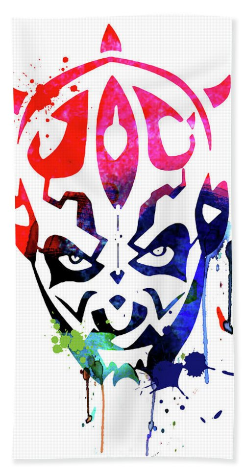 Maul Beach Towel featuring the mixed media Maul Cartoon Watercolor by Naxart Studio