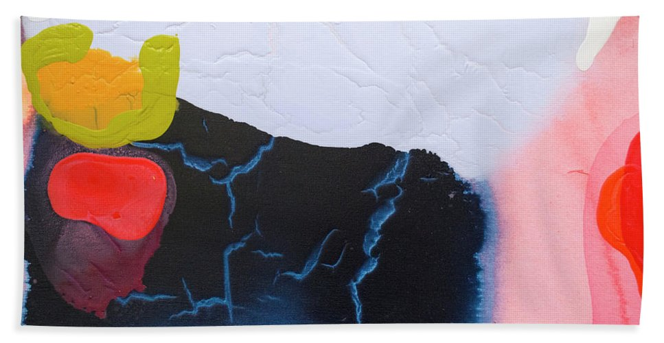 Abstract Beach Towel featuring the painting Maya 01 by Claire Desjardins