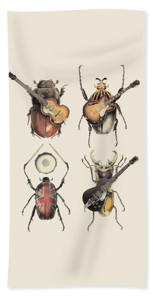 Beatles Beach Towel featuring the digital art Meet the Beetles by Eric Fan