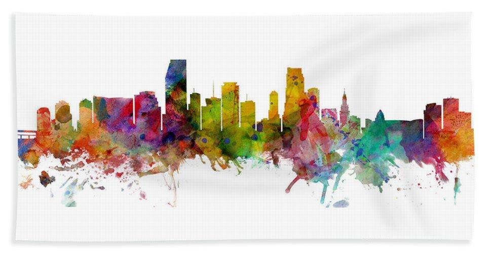 Miami Beach Towel featuring the digital art Miami Florida Skyline Panoramic by Michael Tompsett