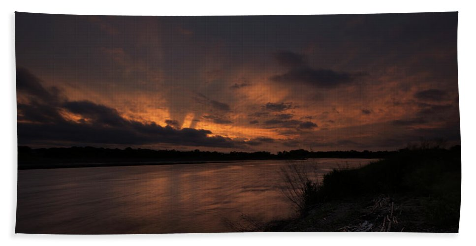 James River Beach Sheet featuring the photograph Mighty James by Aaron J Groen