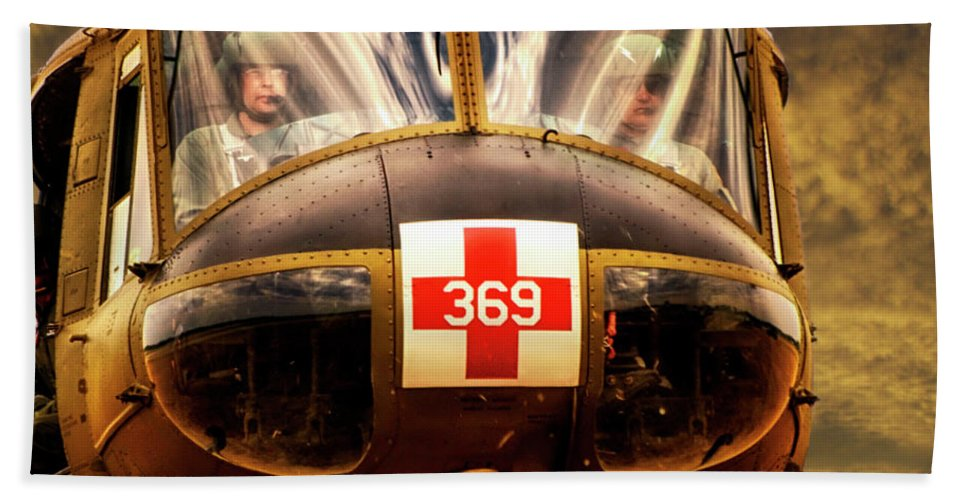 Dust Off Beach Towel featuring the photograph Military Vietnam Era Medivac 369 Helicopter Sq Format by Thomas Woolworth