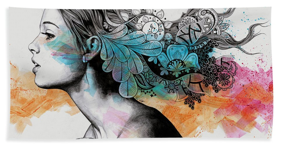 Doodles Beach Towel featuring the drawing Moral Eclipse II - Portrait Of Woman With Doodles Sketch by Marco Paludet