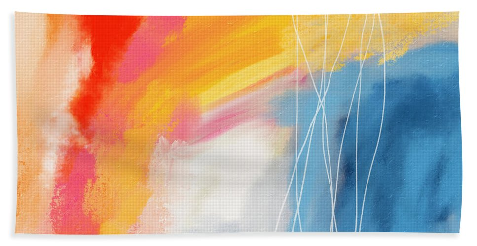 Abstract Beach Towel featuring the mixed media Morning 2- Art by Linda Woods by Linda Woods