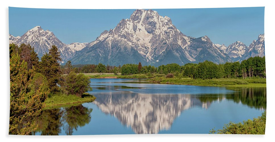 Mount Moran Beach Towel featuring the photograph Mount Moran On Snake River Landscape by Brian Harig