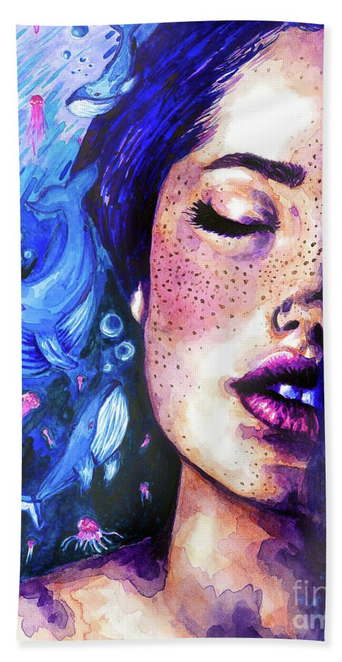 Watercolor Beach Towel featuring the painting Music Of The Ocean by Olesya Umantsiva