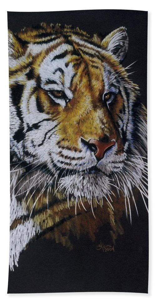 Panthera Beach Towel featuring the drawing Nanook the Tiger by Barbara Keith