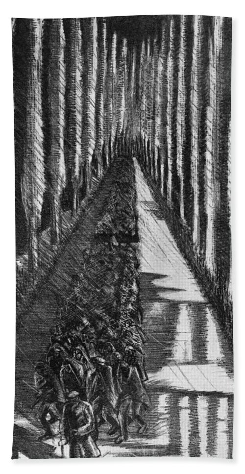 B1019 Beach Towel featuring the drawing Men Marching At Night, 1918 by Paul Nash