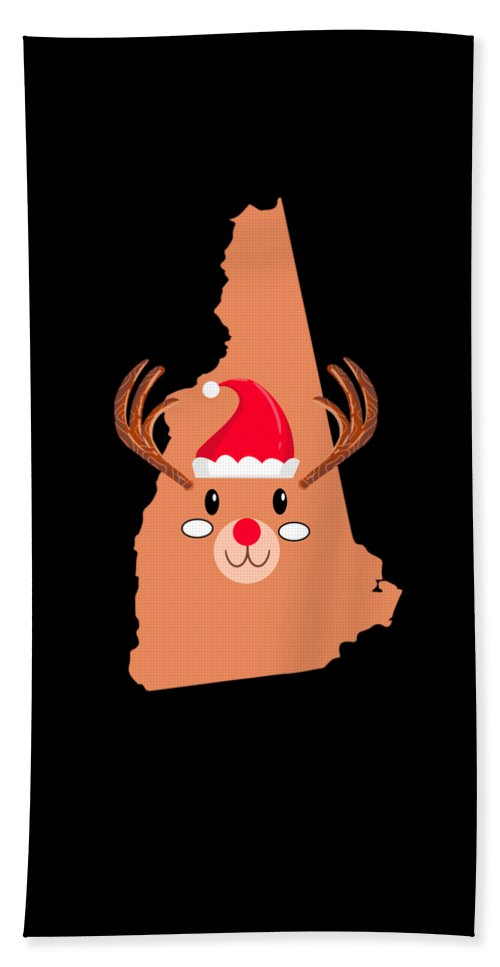 Adventure Beach Sheet featuring the digital art New Hampshire Christmas Antler Red Nose Reindeer by TeeQueen2603