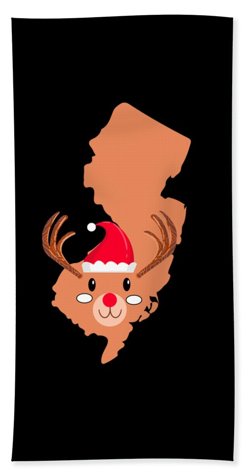 Adventure Beach Towel featuring the digital art New Jersey Christmas Hat Antler Red Nose Reindeer by TeeQueen2603