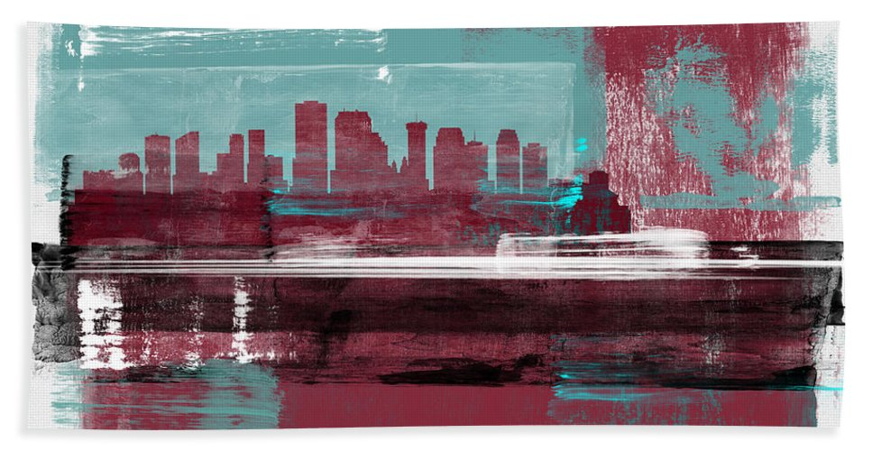 New Orleans Beach Towel featuring the mixed media New Orleans Abstract Skyline I by Naxart Studio