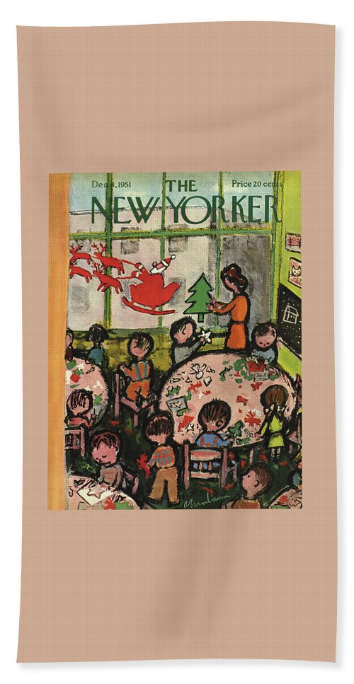 Christmas Xmas Holiday Art Arts Crafts Construction Beach Sheet featuring the painting New Yorker December 8, 1951 by Abe Birnbaum