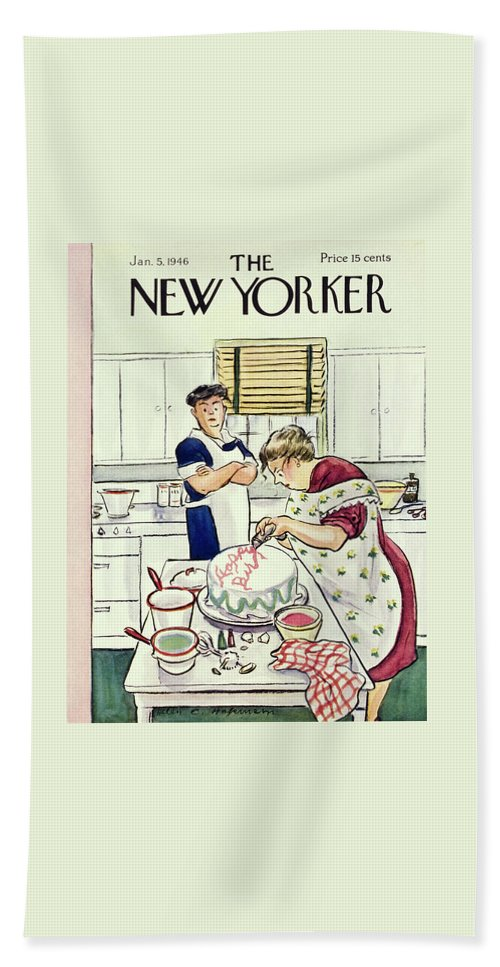 Food Beach Sheet featuring the painting New Yorker January 5 1946 by Helene E Hokinson