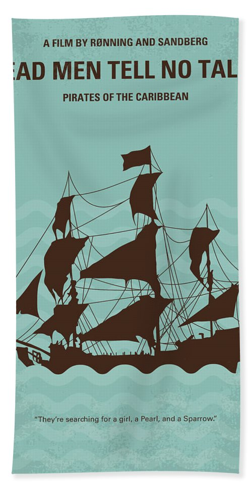 Pirates Beach Towel featuring the digital art No494-5 My Pirates Of The Caribbean V Minimal Movie Poster by Chungkong Art
