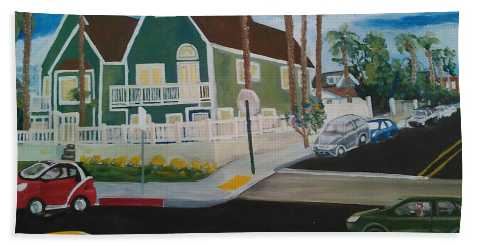 Painting Beach Towel featuring the painting OB House by Andrew Johnson