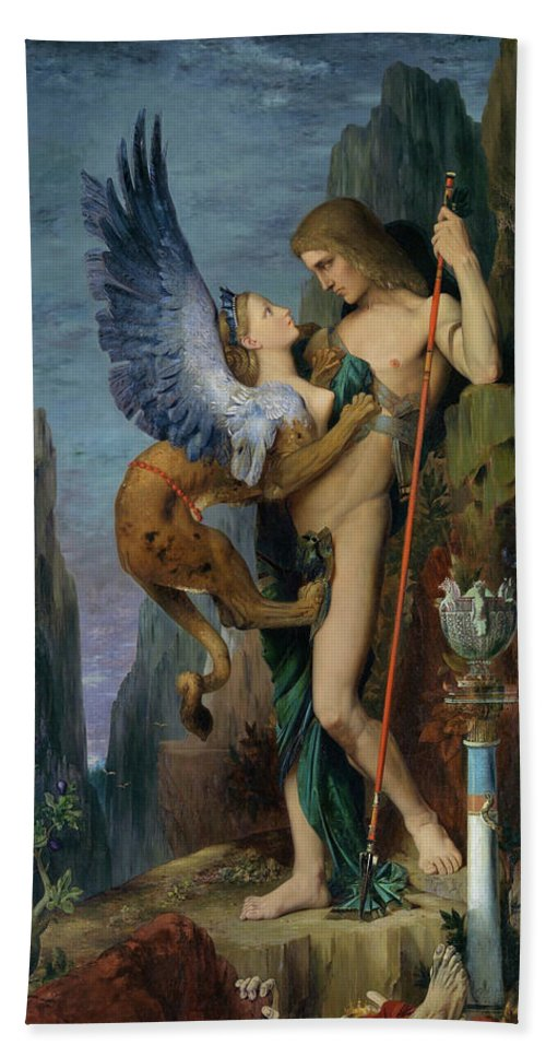 Gustave Moreau Beach Sheet featuring the painting Oedipus And The Sphinx - Digital Remastered Edition by Gustave Moreau