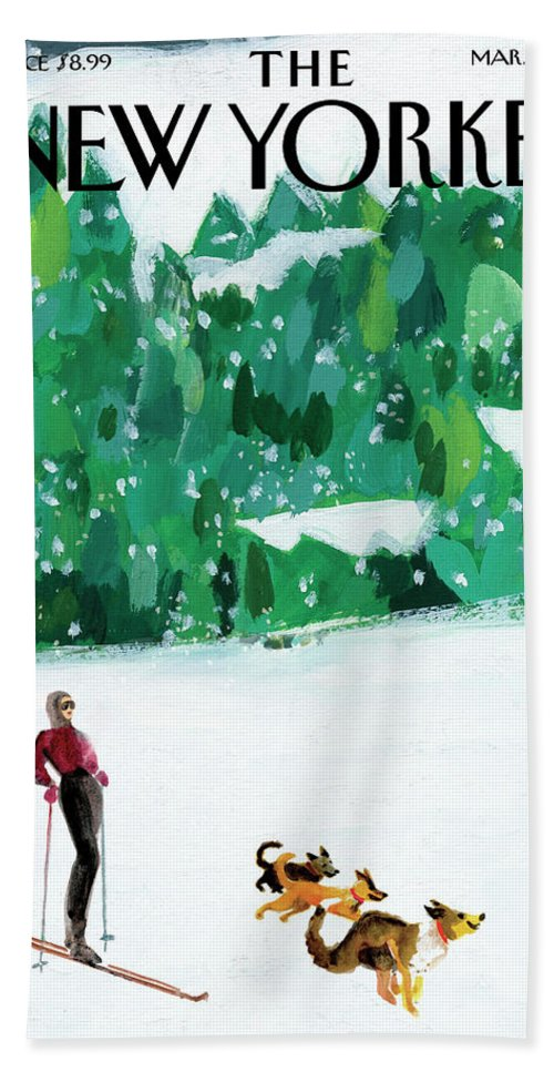 Skiing Beach Sheet featuring the painting Off The Path by Gayle Kabaker