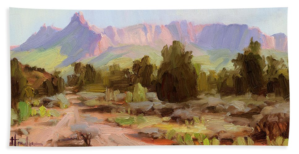 Zion Beach Towel featuring the painting On The Chinle Trail by Steve Henderson