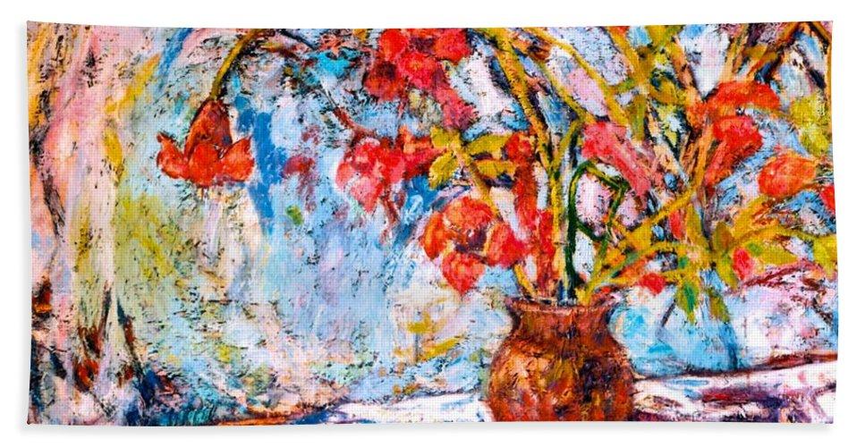Trumpet Flowers Beach Towel featuring the painting Orange Trumpet Flowers by Kendall Kessler