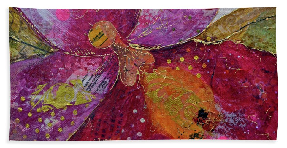 Red Beach Towel featuring the painting Orchid Passion I by Shadia Derbyshire
