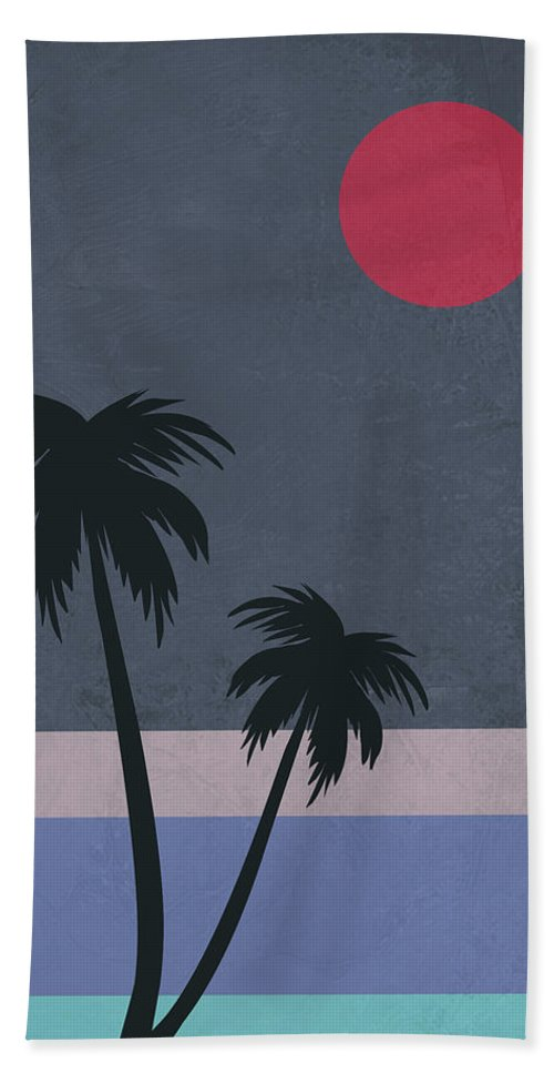 Palm Tree Beach Towel featuring the mixed media Palm Trees And Red Moon by Naxart Studio