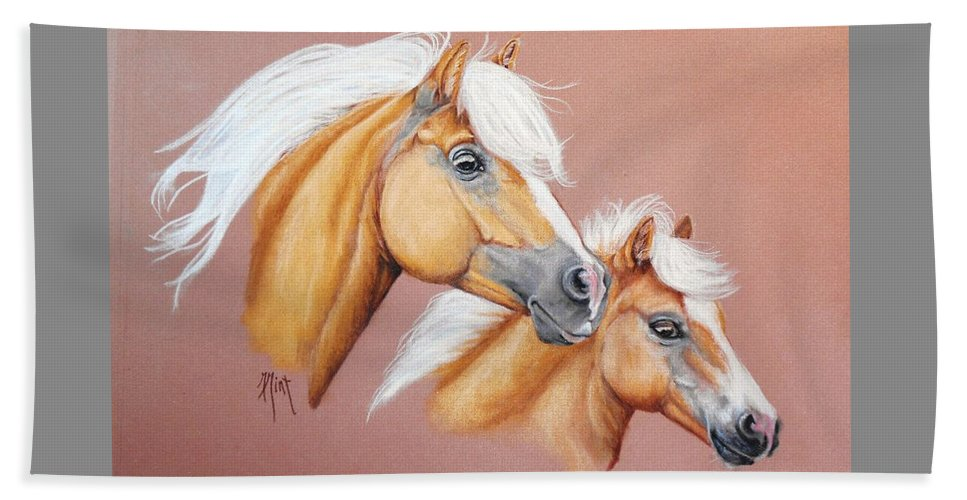 Horse Beach Towel featuring the pastel Palomino Pair by Mary Mint