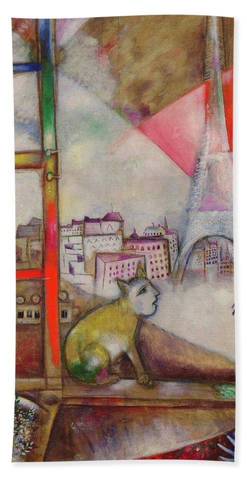 Marc Chagall Beach Towel featuring the painting Paris Through The Window - Paris Par La Fenetre, 1913 by Marc Chagall
