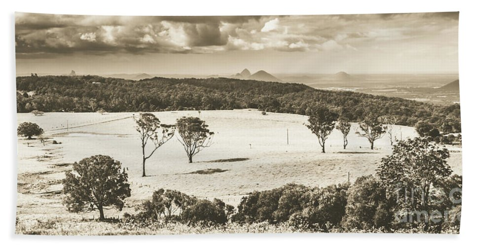 Sepia Beach Towel featuring the photograph Pastoral Plains by Jorgo Photography - Wall Art Gallery
