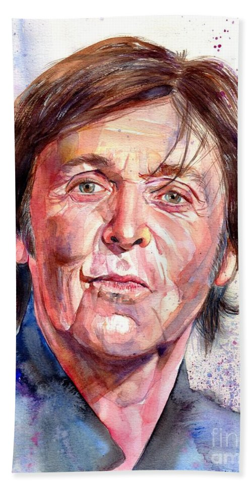Paul Beach Towel featuring the painting Paul McCartney Watercolor by Suzann Sines