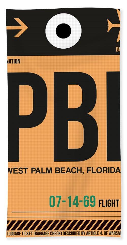 Vacation Beach Towel featuring the digital art Pbi West Palm Beach Luggage Tag I by Naxart Studio