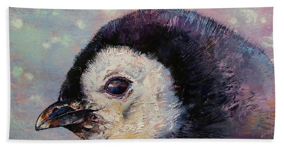 Baby Beach Towel featuring the painting Penguin Chick by Michael Creese