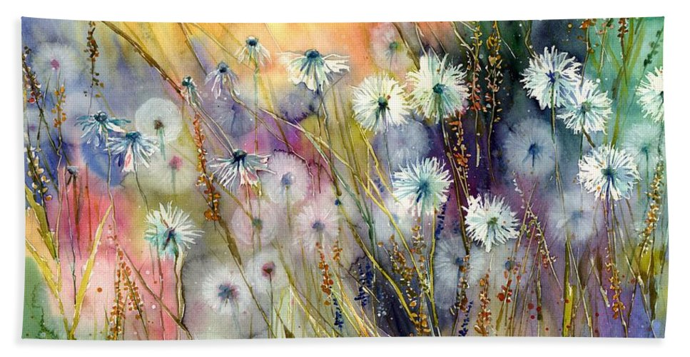 Watercolor Beach Towel featuring the painting Perfect Summer by Suzann Sines